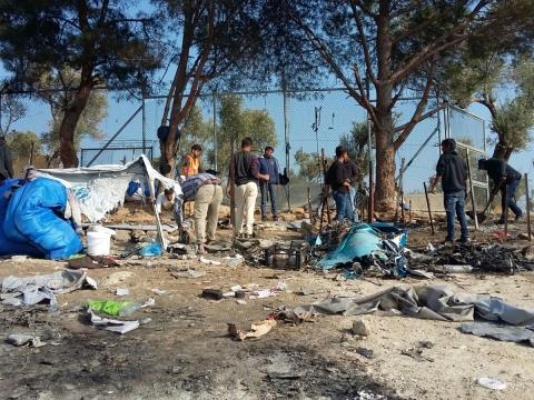 화재가 일어난 모리아 난민캠프 ⓒMSF