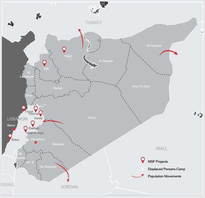 2015년 1월 기준, 국경없는의사회의 시리아 내 활동 지역